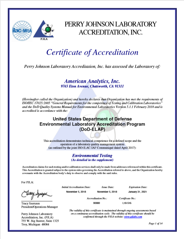 American Analytics DOD-ELAP Certification